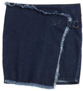 Treasure & Bond Girl's Asymmetrical Wrap Denim Skirt