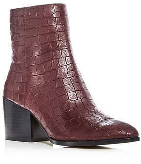 1 STATE 1.STATE Women's Jahmil Croc Embossed Leather High Block Heel Booties