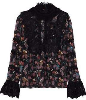 Anna Sui Printed Silk-Blend Chiffon Top