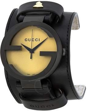 Gucci Grammy XL Black Leather Cuff Men's Watch
