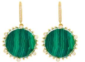 Frederic Sage 18k Yg Large Round Checker Top Malachite, Crystal and Diamond on 6 Prongs and Rnd Clip Tivoli Earrings