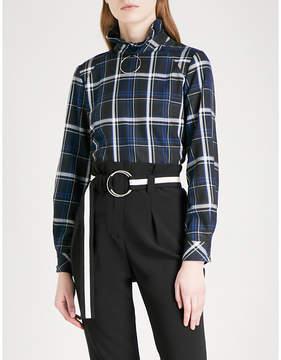 Claudie Pierlot Hoop ring-detail checked flannel shirt