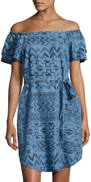 Chelsea & Theodore Off-The-Shoulder Aztec Denim Dress, Blue