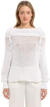 Calvin Klein Collection Off The Shoulder Cotton Knit Sweater