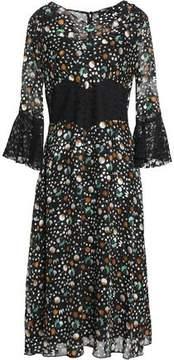 Anna Sui Paneled Printed Lace And Chiffon Midi Dress