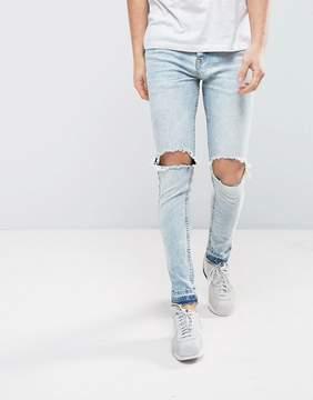 Brave Soul Light Wash Skinny Raw Hem Jeans