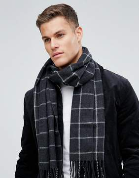 Asos Woven Scarf In Gray Grid Check