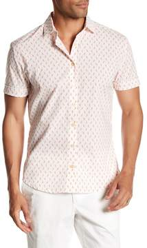 Parke & Ronen Short Sleeve Print Stretch Slim Fit Shirt