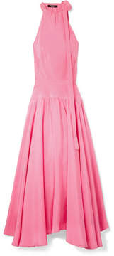 Calvin Klein Bow-embellished Silk-cady Midi Dress - Pink