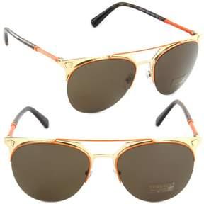 Versace Men's VE2181 VE/2181 1252/73 Orange/Pale Gold Round Sunglasses 57mm