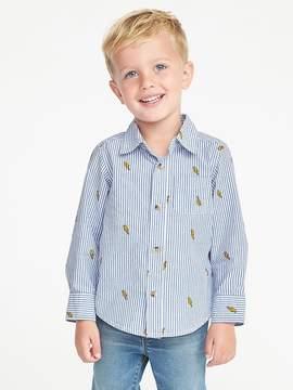 Old Navy Striped Poplin Shirt for Toddler Boys