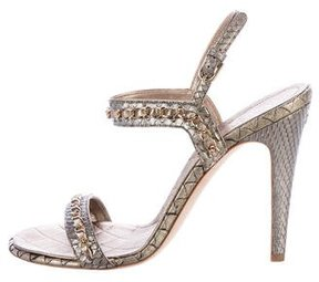 Chanel Leather Embossed Chain-Link Sandals