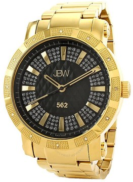 JBW 562 Black Crystal Dial Diamond Bezel Gold-tone Stainless Steel Men's Watch