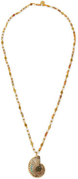 Devon Leigh Long Mixed-Bead Shell Pendant Necklace