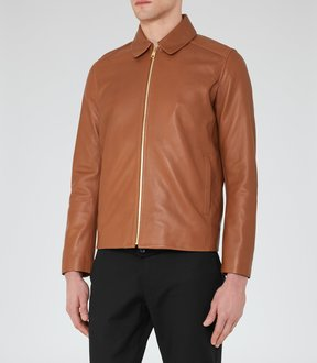 Reiss Dauphine Collared Leather Jacket
