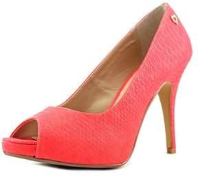 Thalia Sodi Cereza Women Peep-toe Leather Orange Heels.