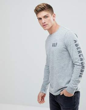Abercrombie & Fitch Long Sleeve Legacy Top Front and Sleeve Flock Print in Gray