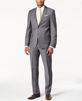 DKNY Slim-Fit Medium Gray Mini-Grid Suit