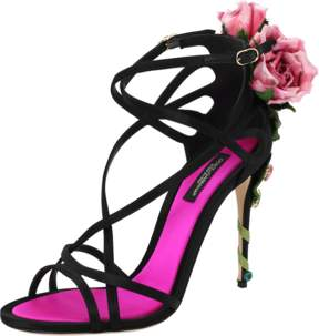 DOLCE & GABBANA Strappy Rose Heel Sandal