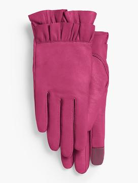 Talbots Ruffled Leather Gloves
