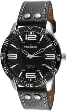 Peugeot Men's Black And Silver Tone Leather Strap Watch 2049SBK