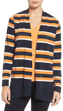 Chaus Colorblock Striped Cardigan