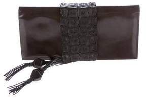 Giorgio Armani Alligator-Trimmed Flap Clutch