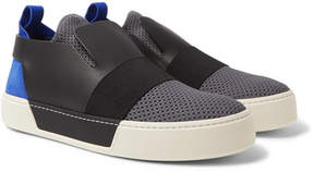 Balenciaga Leather, Suede And Mesh Slip-On Sneakers