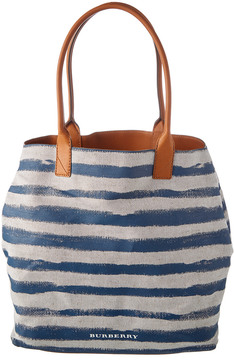 Burberry Medium Canvas Stripe Tote - BLUE - STYLE