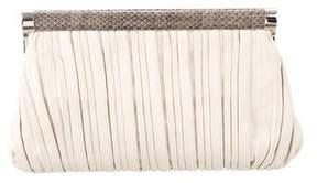 Michael Kors Snakeskin Trimmed Frame Clutch - WHITE - STYLE