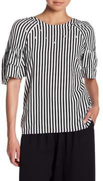 Daniel Rainn DR2 by Striped Embellished Ruffle Sleeve Shirt