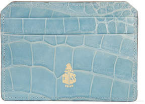 Mark Cross Crocodile Cardholder - Light blue