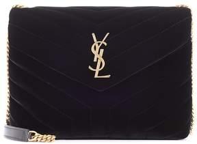 Saint Laurent Loulou Monogram Small velvet shoulder bag