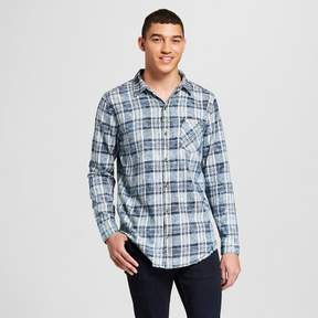 Jackson Men's Plaid Raw Edge Curved Hem Flannel Long Sleeve Button-Down Shirt Blue Ice