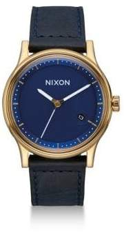 Nixon Station Tapered Leather Strap Watch