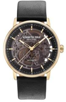 Kenneth Cole Skeleton-Dial Leather-Strap Watch