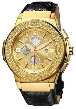 JBW Men's Saxon Diamond Leather Strap Watch - 0.16 ctw