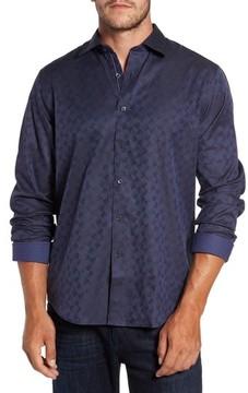 Bugatchi Men's Classic Fit Swirl Print Sport Shirt