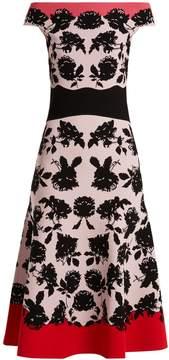 Alexander McQueen Rose-intarsia off-the-shoulder knit dress