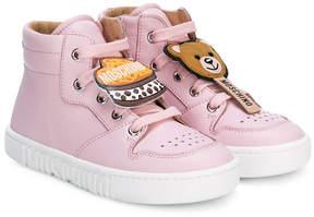 Moschino Kids patch-appliqué hi-top sneakers
