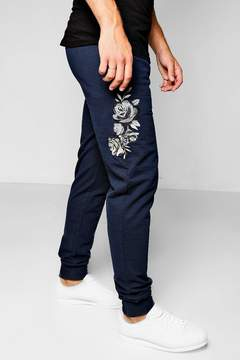 boohoo Skinny Fit Floral Embroidered Jogger