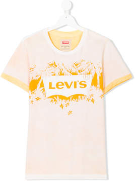 Levi's Kids TEEN tropical logo print T-shirt
