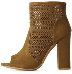 Charlotte Russe Bamboo Laser Cut Ankle Booties