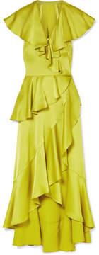 Temperley London Juliette Ruffled Wrap-effect Satin-crepe Midi Dress - Chartreuse