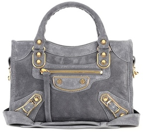 Balenciaga Classic Metallic Edge Mini City suede shoulder bag