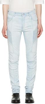Pierre Balmain Blue Biker Skinny Jeans