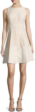 Anne Klein Women's Seamed Lace Crepe Fit & Flare Dress