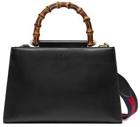 Gucci Medium Nymphea Bicolor Leather Top Handle Satchel - Black - BLACK - STYLE