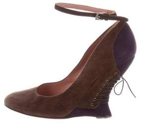 Alaia Suede Ankle Strap Wedges
