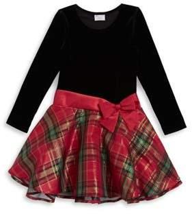 Iris & Ivy Girl's Velvet Plaid Fit-&-Flare Dress